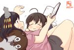 2girls :3 ahoge alternate_costume artist_logo black_hair black_shorts bokukawauso book breasts brown_hair child closed_eyes commentary_request dated hair_ornament holding holding_book kanon_(kurogane_knights) kantai_collection large_breasts lying lying_on_person multiple_girls on_person open_mouth otter pink_shirt red_eyes shigure_(kantai_collection) shirt short_hair short_shorts short_sleeves shorts simple_background smile stuffed_animal stuffed_otter stuffed_toy sweatdrop white_background yamashiro_(kantai_collection) younger