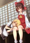 2girls apron ascot blonde_hair bow braid brown_eyes brown_hair collarbone collared_shirt commentary_request detached_sleeves dutch_angle eyebrows_visible_through_hair frilled_bow frills hair_bow hair_tubes hakurei_reimu hand_on_another's_head highres kirisame_marisa lap_pillow lying mukkushi multiple_girls no_hat no_headwear on_side open_mouth petting red_bow red_shirt red_skirt shirt short_sleeves shouji single_braid skirt skirt_set sliding_doors touhou veranda vest yellow_eyes yellow_neckwear