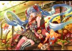 1girl ahoge air_bubble animal architecture autumn autumn_leaves bangs bare_shoulders black_skirt blue_eyes blue_hair bubble covered_mouth day east_asian_architecture feet_out_of_frame fish floating_hair floral_print flower goldfish hair_between_eyes hair_flower hair_ornament hakama_skirt haori hatsune_miku holding holding_leaf immersed japanese_clothes kanzashi kimono lace-trimmed_skirt lace_trim leaf letterboxed long_hair looking_at_viewer maple_leaf michi_(iawei) miniskirt mismatched_legwear off_shoulder pleated_skirt print_kimono red_legwear sash short_kimono sidelocks sitting skirt sleeveless sleeveless_kimono solo striped striped_legwear submerged tassel thigh-highs twintails vase vertical-striped_legwear vertical_stripes very_long_hair vocaloid zettai_ryouiki