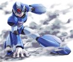 1boy android arm_cannon arm_support capcom fujino_yuuki full_body glint green_eyes hand_on_ground helmet looking_at_viewer male_focus robot rockman rockman_x simple_background smoke solo weapon white_background x_(rockman)