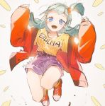1girl :d aqua_hair belt blue_eyes blue_hair blush breasts bulma character_name dragon_ball dragon_ball_(classic) facing_viewer high-waist_shorts highres jumping long_hair nachoz_(natsukichann) open_mouth shoes shorts simple_background smile sneakers solo