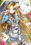 1girl alice_(wonderland) alice_in_wonderland animal_ears blonde_hair blue_eyes card commentary fake_animal_ears flower highres long_hair looking_to_the_side nyaruin one_eye_closed playing_card rabbit_ears skindentation solo thigh-highs tulip very_long_hair white_flower