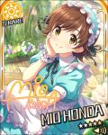 blush brown_eyes brown_hair character_name headdress honda_mio idolmaster idolmaster_cinderella_girls short_hair smile stars