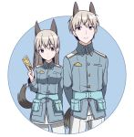 1boy 1girl absurdres animal_ears arms_behind_back bangs between_fingers blue_background blue_eyes blue_jacket breasts card dual_persona eila_ilmatar_juutilainen eyebrows_visible_through_hair fox_boy fox_ears fox_girl fox_tail genderswap genderswap_(ftm) grey_hair hair_between_eyes hand_up highres holding holding_card ichiren_namiro jacket long_hair medium_breasts military_jacket pants pantyhose strike_witches tail two-tone_background very_long_hair white_background white_legwear white_pants world_witches_series