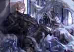 1boy alien battle belt black_gloves black_jacket blue_eyes brown_hair chromatic_aberration dripping gloves gun highres holding holding_gun holding_weapon jacket original pointing_weapon reckless_dog rock science_fiction tentacles weapon