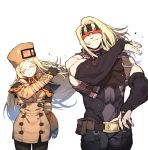 1boy 1girl belt belt_pouch black_bodysuit black_gloves blindfold blonde_hair bodysuit bridal_gauntlets brown_coat brown_legwear closed_eyes closed_mouth coat cowboy_shot double-breasted elbow_gloves facing_viewer fingerless_gloves fingernails floating_hair fur_hat gloves guilty_gear guilty_gear_strive hand_up hat highres long_hair millia_rage pantyhose pose pouch simple_background smile ssambatea standing white_background zato-1