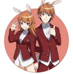 1boy 1girl absurdres animal_ears bangs blue_eyes breasts brown_background brown_hair charlotte_e_yeager closed_mouth collared_shirt dual_persona eyebrows_visible_through_hair genderswap genderswap_(ftm) grin hair_between_eyes hand_up highres ichiren_namiro long_hair long_sleeves looking_at_viewer medium_breasts no_pants pants rabbit_ears red_pants red_x shirt smile strike_witches thumbs_up two-tone_background white_background white_shirt world_witches_series