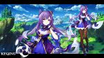 1girl absurdres bare_shoulders breasts day earrings full_body genshin_impact gloves hair_between_eyes highres huge_filesize jewelry keqing long_hair looking_at_viewer medium_breasts multiple_views outdoors pantyhose photoshop_(medium) purple_hair shoes sky tree twintails user_mrys2223 violet_eyes