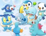 bubble closed_eyes closed_mouth commentary_request froakie gen_1_pokemon gen_2_pokemon gen_3_pokemon gen_4_pokemon gen_5_pokemon gen_6_pokemon gen_7_pokemon gen_8_pokemon kemonomichi_(blue_black) mudkip no_humans open_mouth oshawott piplup pokemon pokemon_(creature) popplio smile sobble squirtle starter_pokemon tongue totodile wavy_mouth