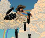 1girl bangs black_hair blue_sky bomb clouds cloudy_sky dress dropping hat highres kneeling long_hair original rainbow sky sleeveless sleeveless_dress smile solo ttanne white_dress