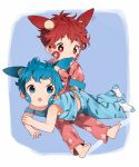 2boys :o animal_ears bangs bare_arms barefoot biting blue_eyes blue_hair blue_pants ear_biting extra_ears facial_mark full_body gen_3_pokemon highres long_sleeves lying lying_on_lap male_focus minun multiple_boys no_shoes off_shoulder on_lap on_stomach pajamas pants personification plusle pokemon red_eyes red_pants red_shirt redhead shirt sitting sleeves_past_wrists smile socks symbol-shaped_pupils tail tank_top thebrushking white_legwear
