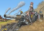 2girls blonde_hair breasts brown_eyes building character_request commentary_request glass_bottle ground_vehicle legionarius light_brown_eyes light_brown_hair military military_uniform military_vehicle motor_vehicle multiple_girls senjou_no_valkyria senjou_no_valkyria_4 short_hair smoke tank town truck uniform
