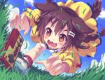 1girl :3 aki_(akisora_hiyori) animal_ears bangs blue_sky blush bone_hair_ornament braid brown_eyes brown_hair cartoon_bone claw_pose controller dog_ears dog_girl dog_tail dress famicom_gamepad fangs fingernails game_controller grass hair_between_eyes hair_ornament hairclip hololive inugami_korone jacket long_hair loose_socks low_twin_braids low_twintails nail_polish open_mouth pouncing red_legwear running shoes sky smile sneakers socks solo tail twin_braids twintails virtual_youtuber white_dress wristband yellow_jacket