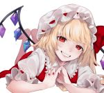 1girl absurdres bangs blonde_hair bow crystal fang feet_up flandre_scarlet frills grin hands_clasped hat hat_bow highres long_hair looking_at_viewer lying mob_cap narimachi_yuki on_stomach own_hands_together puffy_short_sleeves puffy_sleeves red_bow red_eyes red_nails red_skirt red_vest shirt short_sleeves simple_background skirt smile solo touhou vest white_background white_shirt wings