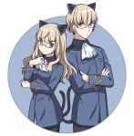1boy 1girl absurdres animal_ears ascot bangs black_legwear black_pants blue_background blue_jacket brown_eyes brown_hair cat_boy cat_ears cat_girl cat_tail closed_mouth collared_jacket crossed_arms dual_persona eyebrows_visible_through_hair genderswap genderswap_(ftm) glasses hand_up highres ichiren_namiro jacket long_hair long_sleeves looking_at_viewer military_jacket pants pantyhose perrine_h_clostermann strike_witches tail tail_raised two-tone_background v-shaped_eyebrows white_background white_neckwear world_witches_series
