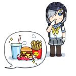 1girl 3toshinhmkz bicycle_helmet black_legwear blue_eyes blue_sailor_collar chibi commentary_request drink fast_food finger_to_mouth food french_fries full_body gloves grey_skirt hair_ornament hair_over_one_eye hairclip hamakaze_(kantai_collection) hamburger helmet kantai_collection neckerchief pantyhose pleated_skirt sailor_collar school_uniform serafuku short_hair silver_hair simple_background skirt solo speech_bubble standing white_background white_gloves yellow_neckwear