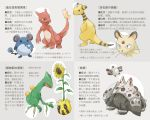 ampharos charmeleon closed_mouth commentary_request fangs fire flame gen_1_pokemon gen_2_pokemon gen_3_pokemon highres lairon looking_back magnemite marill no_humans nyala_(nyala_766) open_mouth persian pokemon sceptile smile sunkern tongue translation_request whiskers