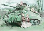 4girls absurdres artist_request assam_(girls_und_panzer) blonde_hair breasts caterpillar_tracks clouds commentary_request cup darjeeling_(girls_und_panzer) day emblem girls_und_panzer grass ground_vehicle highres house long_hair looking_at_viewer m4_sherman military military_uniform military_vehicle motor_vehicle multiple_girls orange_hair orange_pekoe_(girls_und_panzer) redhead rosehip_(girls_und_panzer) sherman_firefly short_hair skirt sky smile st._gloriana's_(emblem) st._gloriana's_military_uniform table tank teacup teapot traditional_media uniform