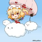 1girl :3 :d bangs blonde_hair blue_background blush bow clouds collared_shirt commentary_request crystal eyebrows_visible_through_hair fang flandre_scarlet frilled_shirt_collar frilled_umbrella frills gradient gradient_background hair_between_eyes hat holding holding_umbrella laevatein looking_at_viewer miicha mob_cap o_o one_side_up open_mouth pink_umbrella puffy_short_sleeves puffy_sleeves red_bow red_ribbon red_skirt red_vest ribbon shirt short_sleeves skirt skirt_set smile solid_circle_eyes solo touhou twitter_username umbrella vest white_headwear white_shirt wings