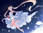 1girl :d absurdres bangs bare_legs bishoujo_senshi_sailor_moon blonde_hair blue_eyes chain double_bun dress english_text formal from_below full_body high_heels highres jumping long_hair open_mouth parted_bangs petals rei_(usabiba) silhouette sleeveless sleeveless_dress smile solo strapless strapless_dress tsukino_usagi twintails very_long_hair white_dress