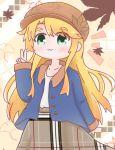 573konamilk :3 blonde_hair blush green_eyes hat himesaka_noa leaf long_hair maple_leaf plaid smile v very_long_hair watashi_ni_tenshi_ga_maiorita!