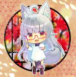 1girl :d ahoge animal_ear_fluff animal_ears apron bangs black_legwear blush bowl brown_eyes commentary_request copyright_request eyebrows_visible_through_hair fang frilled_apron frills full_body glasses grey_hair holding holding_bowl holding_spoon japanese_clothes kappougi kimono kneehighs kouu_hiyoyo long_hair looking_at_viewer open_mouth pelvic_curtain purple_kimono red-framed_eyewear red_footwear rice_bowl rice_spoon semi-rimless_eyewear shoes short_eyebrows smile solo spoon standing tail thick_eyebrows under-rim_eyewear very_long_hair white_apron