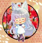 1girl :d ^_^ ahoge animal_ear_fluff animal_ears apron bangs black_legwear blush bowl closed_eyes copyright_request eyebrows_visible_through_hair facing_viewer fang frilled_apron frills full_body glasses grey_hair holding holding_bowl holding_spoon japanese_clothes kappougi kimono kneehighs kouu_hiyoyo long_hair open_mouth pelvic_curtain purple_kimono red-framed_eyewear red_footwear rice_bowl rice_spoon semi-rimless_eyewear shoes short_eyebrows smile solo spoon standing tail thick_eyebrows under-rim_eyewear very_long_hair white_apron