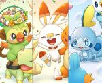 black_eyes blush bubble charmander closed_eyes commentary_request cyndaquil fang gen_1_pokemon gen_2_pokemon gen_3_pokemon gen_4_pokemon gen_8_pokemon grookey hands_together hands_up happy head_wreath kemonomichi_(blue_black) looking_back mudkip no_humans open_mouth petals piplup pokemon pokemon_(creature) riding_pokemon scorbunny sobble standing starter_pokemon tongue trembling turtwig wavy_eyes