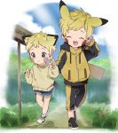 2boys :d ^_^ animal_ears black_footwear blonde_hair blue_eyes blue_footwear blush_stickers child closed_eyes closed_mouth day drawstring extra_ears facial_mark facing_viewer full_body gen_1_pokemon hand_up hands_up height_difference highres holding_hands hood hood_down hooded_jacket jacket long_sleeves multiple_boys nature open_mouth pants pikachu pikachu_ears pokemon pokemon_ears raichu road road_sign scratching_head shoes sign sky smile socks sweater thebrushking walking yellow_jacket yellow_pants yellow_sweater