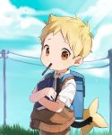 1boy alternate_color backpack bag bangs blonde_hair book book_hug collared_shirt cowboy_shot day dress_shirt gen_4_pokemon highres holding holding_book looking_at_viewer male_focus mouth_hold orange_eyes outdoors pen pokemon shinx shiny_pokemon shirt short_sleeves sky solo sunlight sweater_vest tail thebrushking white_shirt