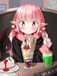 +_+ 1girl absurdres bangs black_hoodie blush cake cake_slice cheesecake commentary_request cup demon_girl demon_tail drinking_glass eyebrows_visible_through_hair food fruit hair_between_eyes hand_up highres holding holding_spoon hood hood_down hoodie indoors long_hair long_sleeves low_twintails menu mochiyuki original parfait parted_lips pink_hair pointy_ears red_eyes sitting sleeves_past_wrists solo spoon strawberry succubus table tail tail_raised twintails upper_body wafer_stick
