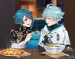 2boys :d arms_on_table asymmetrical_hair black_gloves black_jacket blue_eyes blue_hair blurry blurry_background bowl chinese_clothes chongyun_(genshin_impact) chopsticks cloak dated depth_of_field earrings fang fingerless_gloves food food_request genshin_impact gloves holding holding_chopsticks holding_food hood hood_down hooded_cloak indoors jacket jewelry jitome lavelis long_sleeves multiple_boys open_mouth short_hair signature smile steam tassel tassel_earrings wide_sleeves xingqiu_(genshin_impact) yellow_eyes