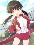 1girl ball brown_hair highres open_mouth original outdoors playing_sports racket solo sport tennis_ball tennis_court tennis_racket twintails uramakaron