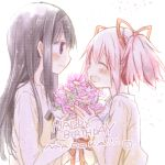 2girls ^_^ akemi_homura aoki_ume beige_shirt black_hair black_hairband bouquet character_name closed_eyes closed_mouth commentary_request eyebrows_visible_through_hair face-to-face fingernails flower from_side hair_ribbon hairband hands_up happy happy_birthday height_difference holding holding_bouquet jitome kaname_madoka laughing light_blush light_particles long_hair long_sleeves looking_at_another mahou_shoujo_madoka_magica multiple_girls nape official_art open_mouth pink_flower pink_hair profile red_ribbon ribbon shirt sidelocks simple_background smile straight_hair text_focus twintails upper_body violet_eyes white_background