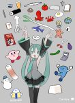 1girl aqua_eyes aqua_hair aqua_neckwear arms_up beer_mug black_legwear black_skirt blush boots bucket bucket_on_head collared_shirt crab cross cup detached_sleeves earth eggplant ehoumaki eraser fish food game_boy gen_1_pokemon handheld_game_console hatsune_miku highres kirby kokaki_mumose makizushi manga_(object) mug mushroom necktie object_on_head octopus omanyte onigiri open_mouth scissors shark shirt skirt sleeveless snowman speech_bubble spring_onion squid starfish sunny_side_up_egg sushi thigh-highs thigh_boots toast tomato twintails vocaloid