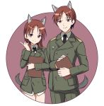 1boy 1girl absurdres animal_ear_fluff animal_ears bangs black_neckwear breasts brown_background brown_eyes brown_hair closed_mouth collared_shirt dual_persona eyebrows_visible_through_hair genderswap genderswap_(ftm) green_jacket green_pants hand_up highres ichiren_namiro index_finger_raised jacket long_hair long_sleeves looking_at_viewer military_jacket minna-dietlinde_wilcke necktie no_pants pants parted_bangs shirt small_breasts smile strike_witches tail two-tone_background white_background white_shirt wolf_boy wolf_ears wolf_girl wolf_tail world_witches_series