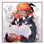 1boy aqua_eyes black_hoodie commentary_request earrings fang gen_6_pokemon goomy half-closed_eyes highres holding holding_pokemon hood hood_down jewelry looking_to_the_side male_focus musical_note open_mouth orange_headwear pokemon pokemon_(creature) pokemon_(game) pokemon_swsh raihan_(pokemon) shigetake_(buroira) shiny spoken_musical_note upper_body
