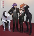 4boys adjusting_neckwear alternate_costume aqua_eyes bangs black_hair black_jacket black_pants black_shirt brown_eyes brown_hair buttons commentary_request copyright_name formal gen_4_pokemon grey_hair grey_vest half-closed_eyes hand_on_another's_shoulder hand_on_hip highres jacket kanamura_ren leon_(pokemon) long_hair long_sleeves male_focus multicolored_hair multiple_boys necktie pants piers_(pokemon) pokemon pokemon_(game) pokemon_swsh purple_hair raihan_(pokemon) red_neckwear rotom rotom_phone self_shot shirt shoes sitting smile standing suit teeth two-tone_hair vest victor_(pokemon) white_jacket white_neckwear white_pants white_shirt yellow_eyes