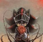1boy armor blood bloody_hands flower furry gauntlets helmet holding holding_flower knight medieval nasu_nashi red_eyes red_flower red_rose rose shadow_the_hedgehog solo sonic_and_the_black_knight sonic_the_hedgehog thorns