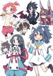 /\/\/\ 1boy 6+girls :t animal_ear_fluff animal_ears asameshi bat_wings beltbra bike_shorts black_choker black_hair black_legwear blue_eyes blush_stickers bracelet brown_footwear brown_hair cape cat_ears cat_tail character_request choker commentary_request desco_(disgaea) disgaea earrings eating extra_eyes fang fingerless_gloves food food_on_face gauntlets gloves grey_eyes grey_hair grin hair_bobbles hair_ornament hakama_pants hanako_(disgaea) hand_on_hip highres hime_cut holding holding_food horns japanese_clothes jewelry kimono loafers long_hair looking_at_viewer makai_senki_disgaea_2 makai_senki_disgaea_3 makai_senki_disgaea_4 midriff multiple_girls navel neck_bell one_eye_closed onigiri open_mouth pink_hair pink_shorts ponytail purple_hair red_eyes rice rice_on_face ringed_eyes rutile_(disgaea) sailor_collar sailor_shirt shaman_(disgaea) shirt shoes short_hair shorts simple_background skirt skull skull_on_head sleeveless sleeveless_kimono smile socks star_(symbol) strapless stud_earrings tail triangle_mouth tubetop valvatorez_(disgaea) white_background white_kimono white_shirt white_skirt wings wrist_wrap yellow_eyes yukimaru