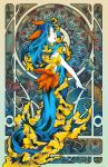 1girl art_nouveau blue_dress blue_hair dress from_behind gina_chacon long_hair looking_at_viewer open_mouth orange_eyes original personification sea_slug sleeveless sleeveless_dress slug_girl smile solo watermark web_address