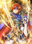1boy 1girl blue_armor blue_cape blue_eyes blue_hair cape fire fire_emblem fire_emblem:_the_binding_blade fire_emblem_cipher hat headband lilina_(fire_emblem) official_art red_cape redhead roy_(fire_emblem) sword weapon white_robe yamada_koutarou