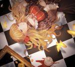 1girl beatrice_(umineko) blonde_hair blue_eyes bow broken_cup checkered checkered_floor choker cup dress gensou_aporo hair_ornament long_hair long_sleeves puffy_sleeves teacup umineko_no_naku_koro_ni yellow_butterfly