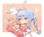 1other 2girls ahoge anger_vein animal_ear_fluff animal_ears baby bangs bib black_gloves blue_hair blush border bow braid carrot_hair_ornament chibi commentary creature don-chan_(usada_pekora) eyebrows_visible_through_hair food_themed_hair_ornament fur-trimmed_gloves fur_trim gloves green_eyes hair_between_eyes hair_bow hair_ornament hairclip hololive kuro_(kuroneko_no_kanzume) long_braid long_hair looking_at_another motion_lines multicolored_hair multiple_girls onesie open_mouth outline outside_border pacifier pink_hair rabbit rabbit_ears rabbit_girl rattle sakura_miko short_eyebrows sidelocks squiggle thick_eyebrows twin_braids usada_pekora v-shaped_eyebrows virtual_youtuber white_border white_bow white_outline yellow_eyes younger