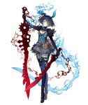 1girl alice_(sinoalice) belt black_dress chain cracked_skin dark_blue_hair dress dual_wielding full_body glowing glowing_eyes glowing_veins hair_over_one_eye hairband holding holding_sword holding_weapon ji_no looking_at_viewer official_art red_eyes short_hair sinoalice solo sword tattoo tiptoes torn_clothes torn_dress torn_legwear transparent_background weapon