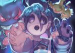 3boys ahoge allister_(pokemon) black_hair black_shirt collared_shirt commentary_request fingernails gen_1_pokemon gen_7_pokemon gengar gloves gym_leader highres long_sleeves looking_at_viewer mask mimikyu multiple_boys open_mouth partly_fingerless_gloves pokemon pokemon_(game) pokemon_swsh print_shirt purple_background purple_theme reaching_out red_sclera reomenka shirt single_glove solo_focus striped_sleeves suspenders tongue tongue_out violet_eyes