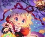 1girl amo animal_costume apron apron_hold apron_tug bare_tree basket big_bad_wolf big_bad_wolf_(cosplay) black_bow blonde_hair bloomers blue_eyes blush bottle bow bowtie bubble_skirt candy capelet center_frills cosplay cupcake doll dress_shirt eyebrows_visible_through_hair fairy_wings floral_print food frilled_apron frilled_capelet frilled_cuffs frilled_shirt_collar frilled_skirt frilled_sleeves frills full_body halloween highres jack-o'-lantern layered_clothing lens_flare little_red_riding_hood little_red_riding_hood_(grimm) little_red_riding_hood_(grimm)_(cosplay) long_sleeves looking_at_viewer medicine_melancholy mushroom night open_mouth pink_shirt pink_skirt puffy_short_sleeves puffy_sleeves pumpkin red_hood red_ribbon ribbon ribbon-trimmed_vest ribbon_trim rose_print sash shirt short_hair short_sleeves signature skirt sleeve_cuffs solo sparkle stain stained_clothes star_(symbol) star_in_eye striped su-san symbol_in_eye touhou tree tree_branch underwear wavy_hair white_bow wings wolf_costume