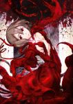1girl blood blood_on_wall blood_splatter brown_hair chikashige claws dress hair_between_eyes living_clothes looking_at_viewer parted_lips pink_lips red_dress red_eyes red_theme sidonia_no_kishi signature solo