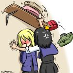2girls andou_(girls_und_panzer) anger_vein bangs bc_freedom_school_uniform black_dress black_hair black_skirt blonde_hair blue_cardigan blue_sweater blush cardigan commentary dark_skin dress dress_shirt dropping faceless faceless_female girls_und_panzer kogane_(staygold) long_sleeves looking_at_another lowres medium_hair messy_hair miniskirt motion_lines multiple_girls oshida_(girls_und_panzer) pinafore_dress pleated_dress pleated_skirt school_uniform shelf shirt short_dress skirt sleeves_rolled_up standing sweater sweater_around_neck toolbox trembling twitter_username wall_slam yuri