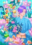 1boy blue_kimono bubble fan fish flower goldfish highres holding holding_fan japanese_clothes kimono leaf long_sleeves male_focus minami_(minami373916) original parted_lips pink_flower print_kimono purple_hair short_hair solo violet_eyes wide_sleeves wind_chime